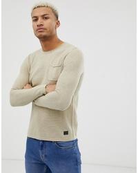 BLEND Knitter Jumper With Pocket In Beige