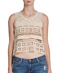Beige Crochet Cropped Top
