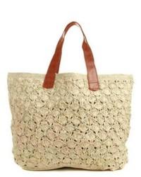 Beige Crochet Tote Bag