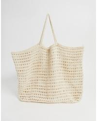 Mango Crochet Shopper In Beige