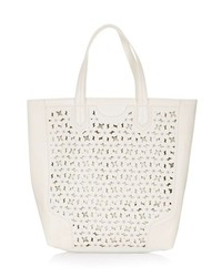 Beige Cutout Leather Tote Bag