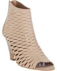 Beige Cutout Suede Ankle Boots