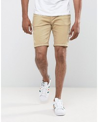 Asos Denim Shorts In Skinny Stone With Abrasions