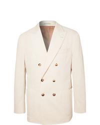 Brunello Cucinelli White Double Breasted Sea Island Cotton Corduroy Blazer