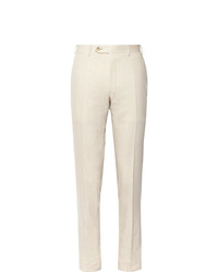 Canali Beige Kei Slim Fit Linen And Wool Blend Suit Trousers