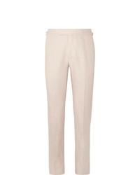 Kingsman Beige Slim Fit Linen Suit Trousers