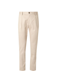 Tod's Beige Slim Fit Tapered Solaro Cotton Blend Suit Trousers
