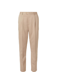 Brunello Cucinelli Beige Slim Fit Wool And Cotton Blend Suit Trousers