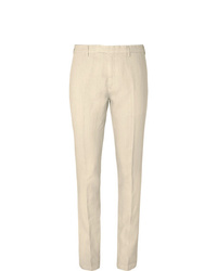 Boglioli Cream Slim Fit Linen Suit Trousers