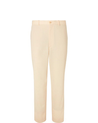 Auralee Cream Tapered Wool Twill Suit Trousers