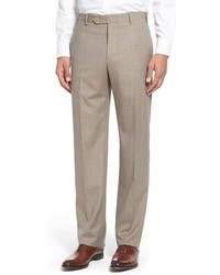 Zanella Flat Front Check Wool Trousers