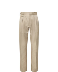 Zanella Normon Tapered Pleated Cotton And Linen Blend Trousers