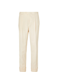 Saman Amel Tapered Pleated Cotton Blend Twill Trousers