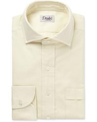 Drakes Drakes Cream Brushed Cotton Shirt