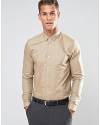Asos Smart Regular Fit Oxford Shirt In Stone