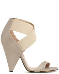 Beige Elastic Heeled Sandals