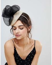 Vixen Cream Hat With Oversize Sinamay Black Bow