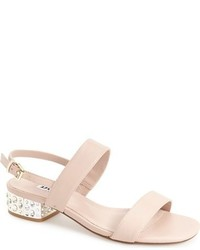 Beige Embellished Leather Heeled Sandals