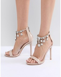 Public Desire Chai Ankle Embellished Heeled Sandals