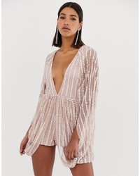 Starlet Cape Sequin Playsuit In Silver