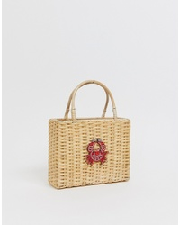 Liars & Lovers Structured Straw Mini Bag With Crab Applique