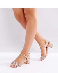 New Look Wide Fit Sparkle Embellished Block Heel Sandal