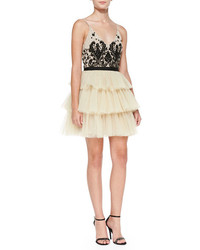 Beige Embellished Tulle Party Dress