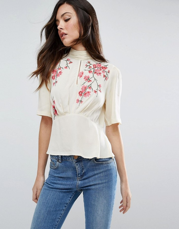 77ee7716985d5e ... Asos Tea Blouse With Embroidery ...