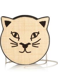 Pussycat embroidered raffia and leather shoulder bag medium 202868