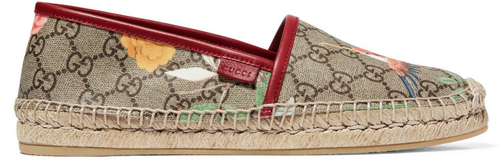 24ee37e48d0 Gucci Tian Leather Trimmed Printed Coated Canvas Espadrilles Beige ...
