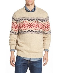 Rag fair isle crewneck sweater with suede elbow patches medium 370474