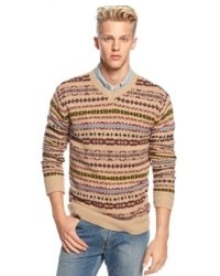 Beige Fair Isle V-neck Sweater