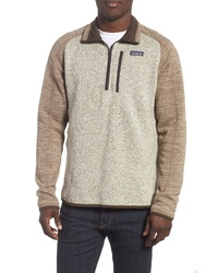 Beige Fleece Zip Neck Sweater