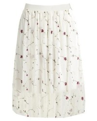 New Look Floral Prom A Line Skirt Cream
