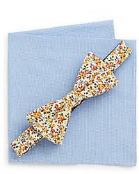 Original Penguin Ambay Floral Bow Tie Checkered Pocket Square Set