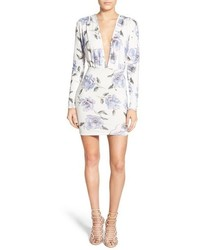 Missguided Floral Plunge Long Sleeve Minidress