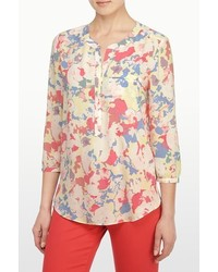 Beige Floral Long Sleeve Blouse