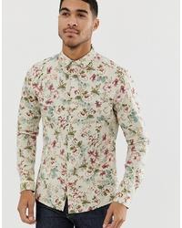 ASOS DESIGN Skinny Fit Floral Shirt In Ecru