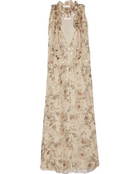 Chloé Floral Print Fil Coup Silk Blend Georgette Maxi Dress Beige