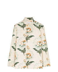By Walid Lotus Flower Print Shirt Jacket