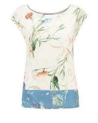 Anna Field Print T Shirt Offwhiteblue