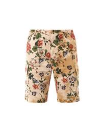 Beige Floral Shorts