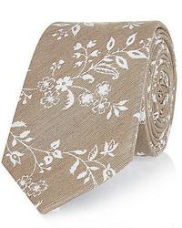 Beige Floral Tie