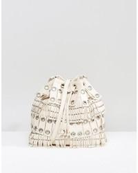 Mango Fringed Eyelet Bucket Bag