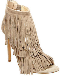 Beige Fringe Suede Heeled Sandals