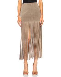 Theperfext mimi fringe suede skirt medium 320256