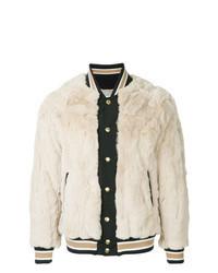 Beige Fur Bomber Jacket