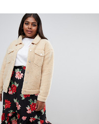 Missguided Plus Borg Teddy Jacket In Nude