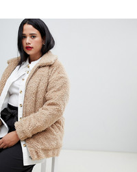 New Look Plus New Look Curve Teddy Faux Fur Bomber In Oatmeal