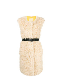 Pinko Sleeveless Faux Shearling Coat